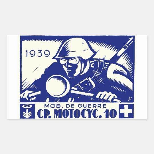 WWII Swiss Motorcycle Company, blue Rectangular Sticker