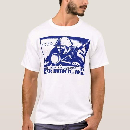 WWII Swiss Motorcycle Company, blue T-Shirt