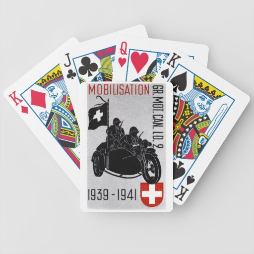 WWII Swiss Recon Motorcycle Bicycle Poker Cards