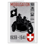 WWII Swiss Recon Motorcycle Greeting Card
