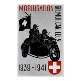 WWII Swiss Recon Motorcycle Poster