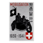WWII Swiss Recon Motorcycle Print