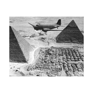 WWII Transport Planes Flying Over Pyramids Gallery Wrapped Canvas