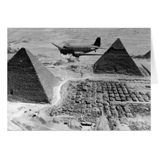 WWII Transport Planes Flying Over Pyramids Card