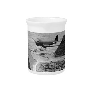 WWII Transport Planes Flying Over Pyramids Pitchers