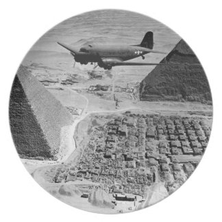 WWII Transport Planes Flying Over Pyramids Dinner Plate