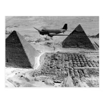 WWII Transport Planes Flying Over Pyramids Postcard
