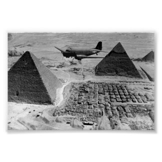 WWII Transport Planes Flying Over Pyramids Poster