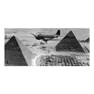 WWII Transport Planes Flying Over Pyramids Rack Card