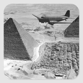 WWII Transport Planes Flying Over Pyramids Square Sticker