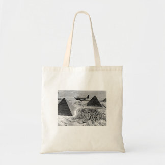 WWII Transport Planes Flying Over Pyramids Tote Bag