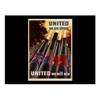 WWII United We Are Strong United We Will Win Postcard