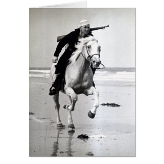 WWII US Coast Guard on Horseback Card