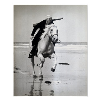 WWII US Coast Guard on Horseback Poster