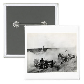 WWII US Marine truck mounted rockets, Iwo Jima Button