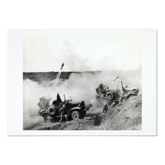 WWII US Marine truck mounted rockets, Iwo Jima Card