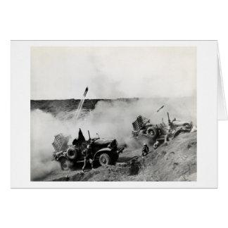 WWII US Marine truck mounted rockets, Iwo Jima Greeting Card