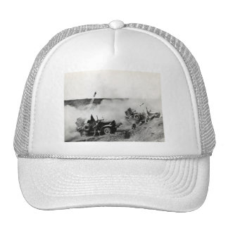 WWII US Marine truck mounted rockets, Iwo Jima Trucker Hat