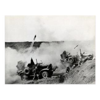 WWII US Marine truck mounted rockets, Iwo Jima Postcard