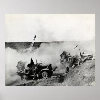WWII US Marine truck mounted rockets, Iwo Jima Poster