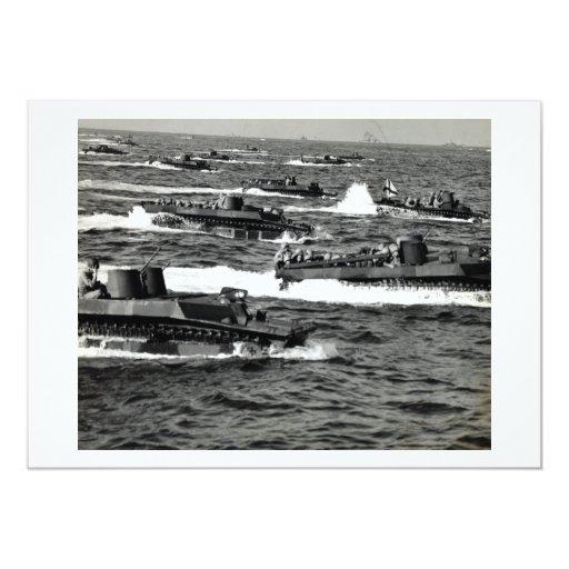 "WWII US Marines invade Iwo Jima 5"" X 7"" Invitation Card"