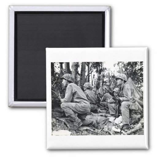 WWII US Marines on Peleliu 2 Inch Square Magnet