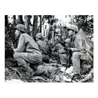 WWII US Marines on Peleliu Postcard