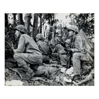 WWII US Marines on Peleliu Poster