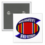 WWII Vet Daughter 2 Inch Square Button