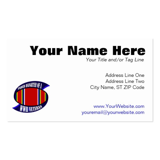 WWII Vet Daughter Double-Sided Standard Business Cards (Pack Of 100)