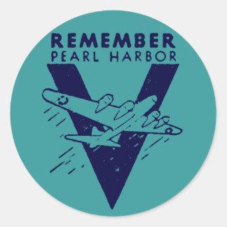 WWII White Remember Pearl Harbor Classic Round Sticker