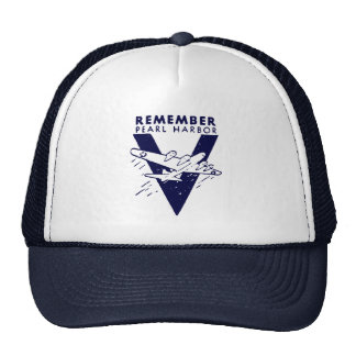 WWII White Remember Pearl Harbor Mesh Hats