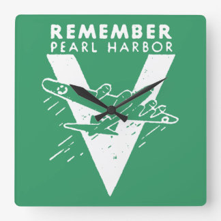 WWII White Remember Pearl Harbor Square Wall Clock