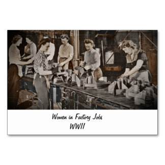 WWII Women in Assembly Line Table Cards
