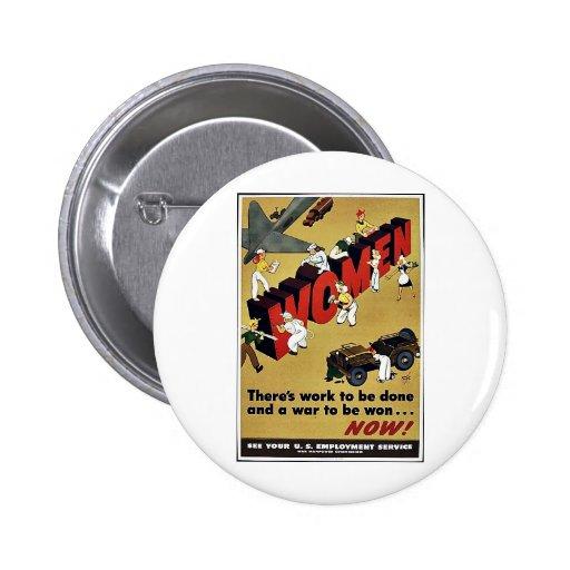 Wwii Women Pinback Button
