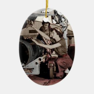 WWII Women Working on Airplane Ceramic Ornament