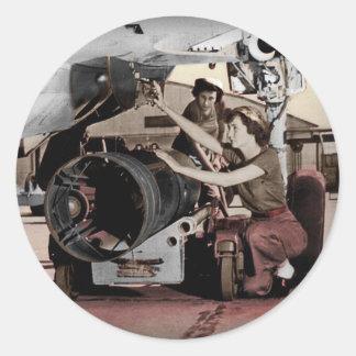 WWII Women Working on Airplane Classic Round Sticker