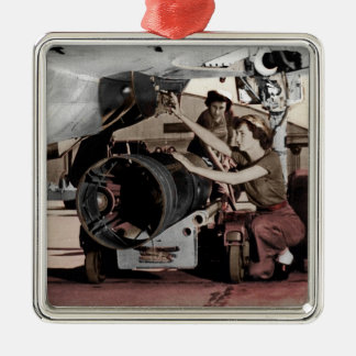 WWII Women Working on Airplane Metal Ornament