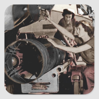 WWII Women Working on Airplane Square Sticker