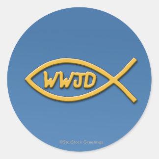 WWJD Fish Symbol Sticker
