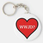 WWJD heart Basic Round Button Keychain