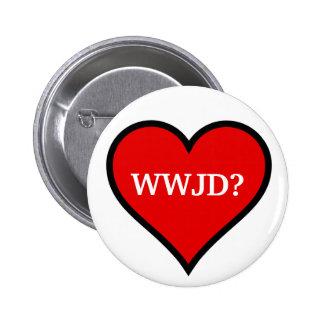 WWJD Heart Pinback Button