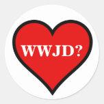 WWJD Heart Round Stickers