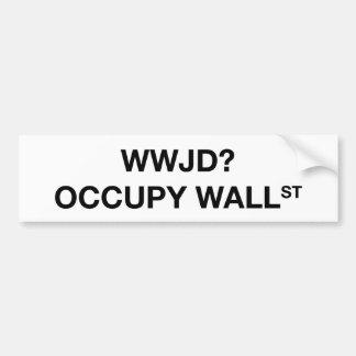 WWJD ocupan Wall Street Pegatina Para Auto