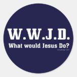 ¿WWJD? ¿Qué Jesús haría? Pegatina Redonda