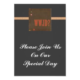 WWJD rust text whimsy Custom Invitation