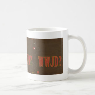 WWJD rust text whimsy Classic White Coffee Mug