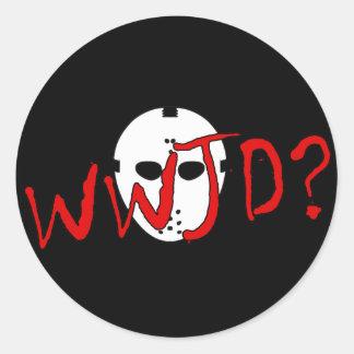 WWJD? CLASSIC ROUND STICKER