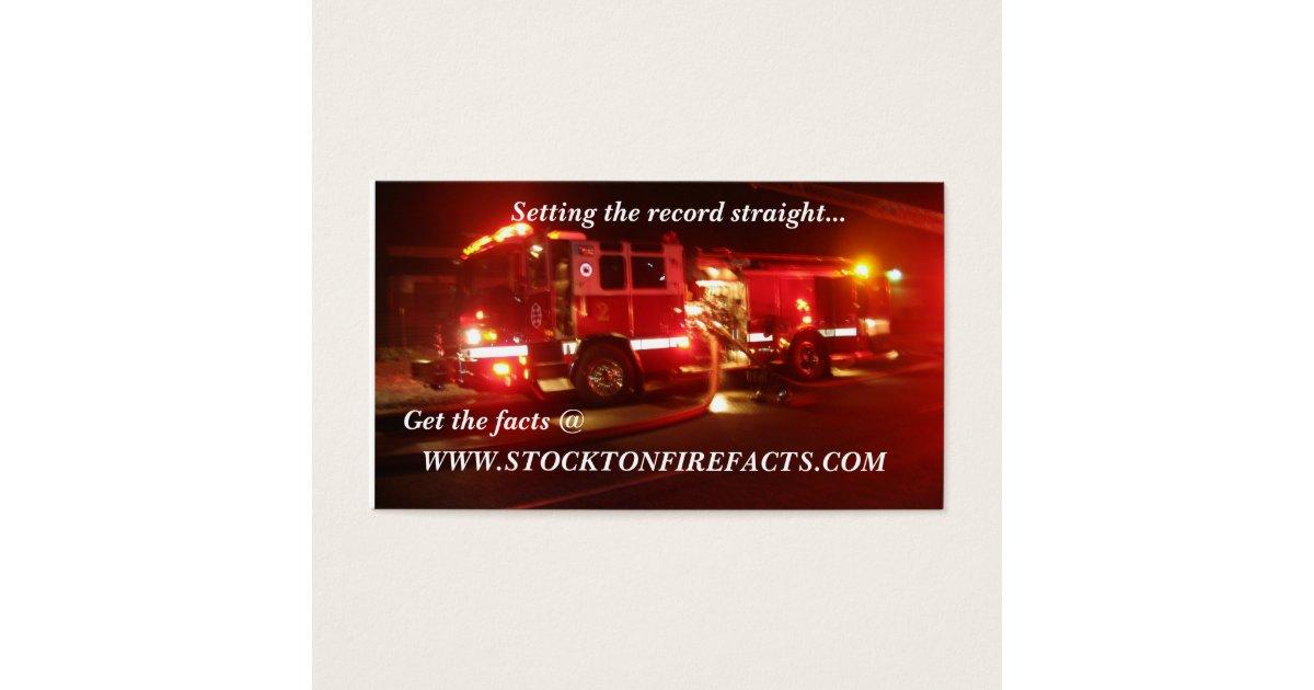 WWW.STOCKTONFIREFACTS.COM BUSINESS CARD | Zazzle.com