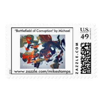 """www.zazzle.com/mikestamps, """"campo de batalla… timbre postal"""